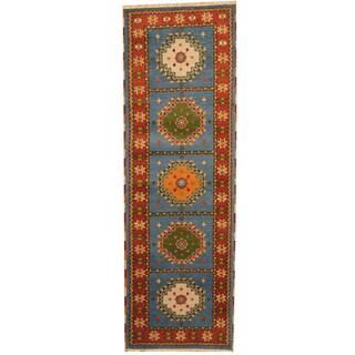Herat Oriental Indo Hand-knotted Tribal Kazak Blue/ Red Wool Runner (2'10 x 8'5)