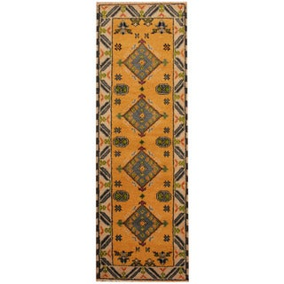 Herat Oriental Indo Hand-knotted Tribal Kazak Gold/ Ivory Wool Runner (2'2 x 6'7)