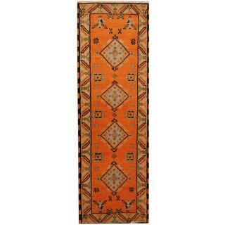 Herat Oriental Indo Hand-knotted Tribal Kazak Orange/ Beige Wool Runner (2'2 x 6'8)