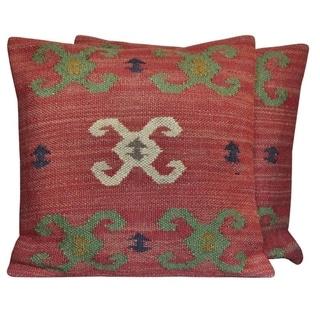 """Handmade Wool & Jute Kilim Pillows, Set of 2 (India) - 20"""" L x 20"""" W"""