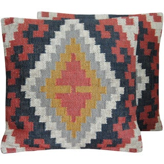 """Handmade Indo Wool and Jute Kilim Pillow, Set of 2 (India) - 20"""" L x 20"""" W"""