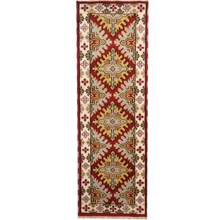 Herat Oriental Indo Hand-knotted Tribal Kazak Red/ Ivory Wool Runner (2'9 x 8'2)