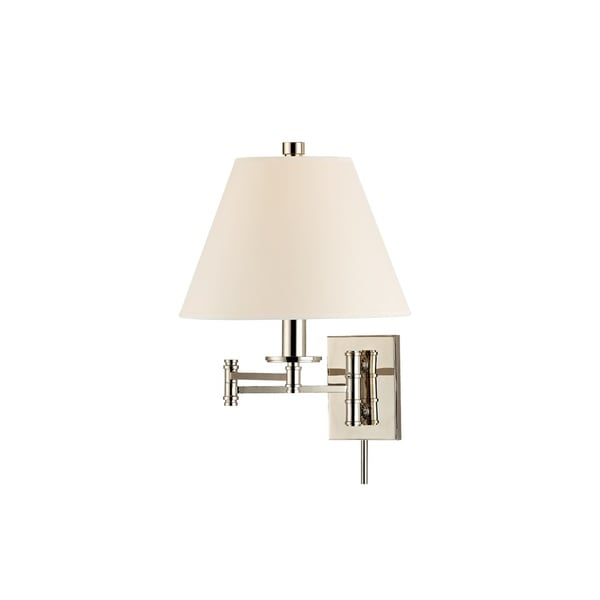 Hudson Valley Claremont 16-inch Nickel Wall Sconce with Cream Shade