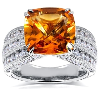 Annello 14k White Gold Cushion Orange Citrine and 1 1/5ct TDW Diamond Multi-Row Channel Ring (H-I, I1-I2)