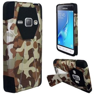 Insten Camouflage Hard PC/ Silicone Dual Layer Hybrid Case Cover with Stand For Samsung Galaxy J1 (2016)