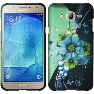 Insten Blue/ Green Sublime Flower Hard Snap-on Rubberized Matte Case Cover For Samsung Galaxy J7 (2016)