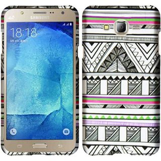 Insten Black/ White Antique Aztec Tribal Hard Snap-on Rubberized Matte Case Cover For Samsung Galaxy J7 (2016)