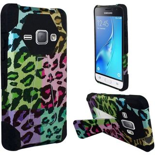 Insten Colorful Leopard Hard PC/ Silicone Dual Layer Hybrid Case Cover with Stand For Samsung Galaxy J1 (2016)