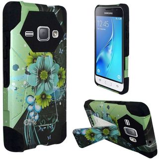 Insten Green/ Blue Sublime Flower Hard PC/ Silicone Dual Layer Hybrid Case Cover with Stand For Samsung Galaxy J1 (2016)