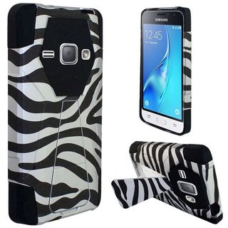 Insten Black/ White Zebra Hard PC/ Silicone Dual Layer Hybrid Case Cover with Stand For Samsung Galaxy J1 (2016)