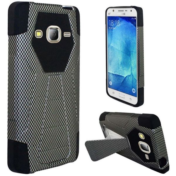 Insten Black Carbon Fiber Hard PC/ Silicone Dual Layer Hybrid Case Cover with Stand For Samsung Galaxy J7 (2016)