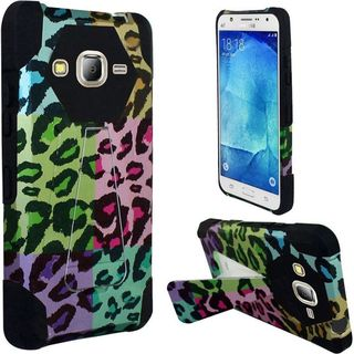 Insten Colorful Leopard Hard PC/ Silicone Dual Layer Hybrid Case Cover with Stand For Samsung Galaxy J7 (2016)
