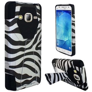 Insten Black/ White Zebra Hard PC/ Silicone Dual Layer Hybrid Case Cover with Stand For Samsung Galaxy J7 (2016)