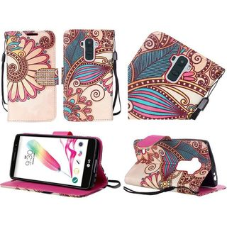 Insten Yellow Antique Flower Leather Case Cover Lanyard with Stand/ Diamond For LG G Stylo 2