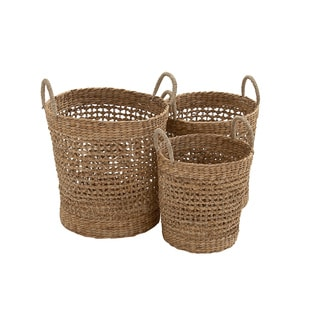 Most Useful Brown Organic Seagrass Basket (Set of 3)