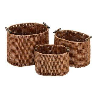 15-inch/13-inch/11-inch Rattan Baskets (Set of 3)