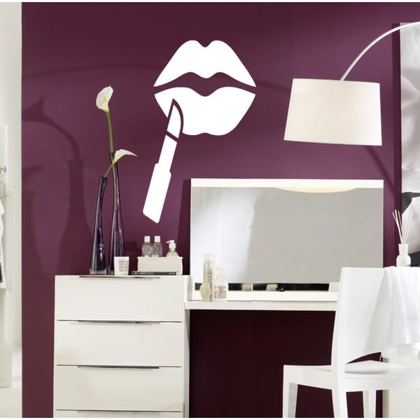 Beauty saloon Pomade lips Wall Art Sticker Decal White