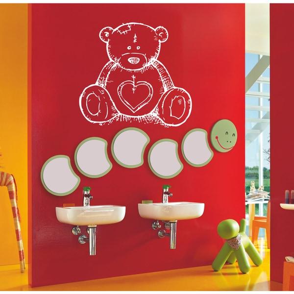Little teddy bear with a heart Wall Art Sticker Decal White