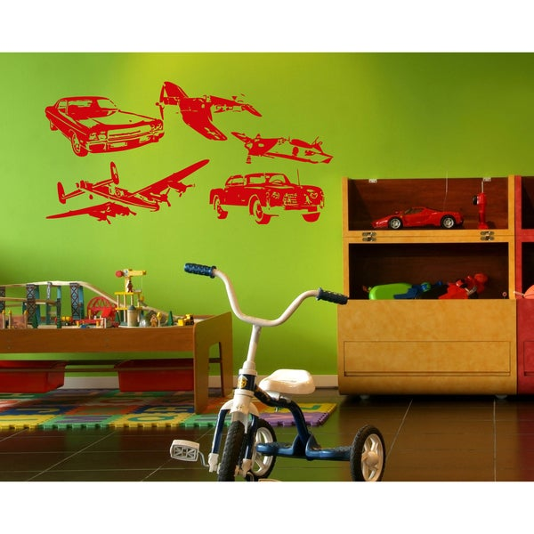 Aircraft car toys flight race Wall Art Sticker Decal Red