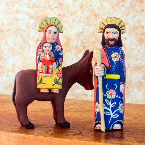 Set of 2 Pinewood 'Flight to Egypt' Sculptures (Guatemala)