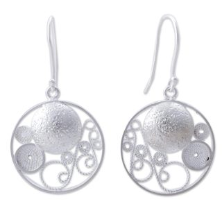 Handcrafted Sterling Silver 'Circular Harmony' Earrings (Peru)