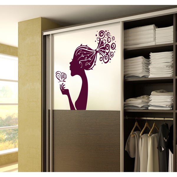 Elegance woman hairdryer flowers butterfly Wall Art Sticker Decal Red