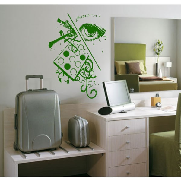 Beauty saloon palette cosmetics eyes Wall Art Sticker Decal Green