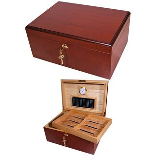 Cuban Crafters Clasico Rojo Brown Cherrywood 100-cigar Classic Humidor