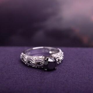 Miadora 10k White Gold 2ct TDW Black and White Diamond Vintage Engagement Ring (G-H, I2-I3)
