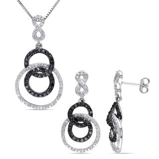 Miadora Black Rhodium Plated Sterling Silver 1ct TDW Black and White Diamond Circle Necklace and Earrings Set (G-H, I2-I3)