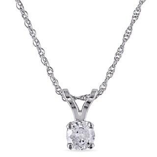 Miadora 10k White gold 1/6ct TDW Diamond Solitaire Necklace (I-J, I2-I3)