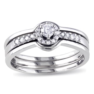 Miadora Sterling Silver 1/4ct TDW Diamond Halo Bridal Ring Set (GH, I2-I3)