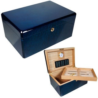 Cuban Crafters Colores Azul Blue Wood Humidor for 100 Cigars
