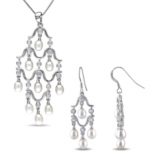 Miadora Sterling Silver Cultured Freshwater Pearl and Cubic Zirconia 2-piece Chandelier Drop Necklace and Earrings Set(4-4.5 mm)