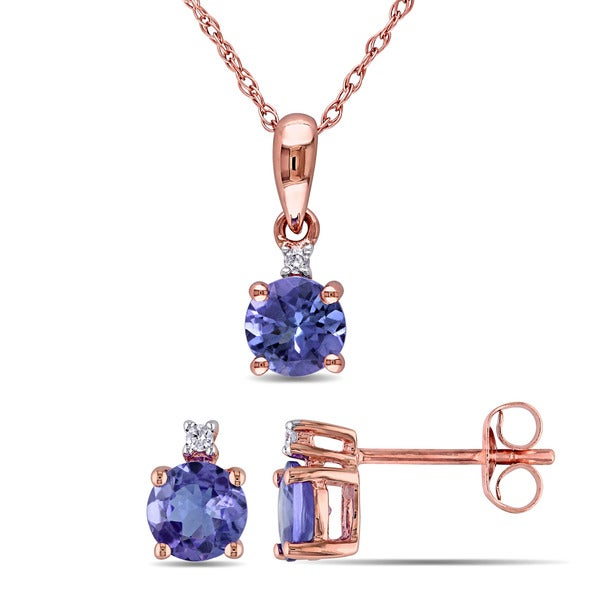 Miadora 10k Rose Gold Tanzanite and Diamond Accent 2-piece Solitaire Necklace and Stud Earrings Set