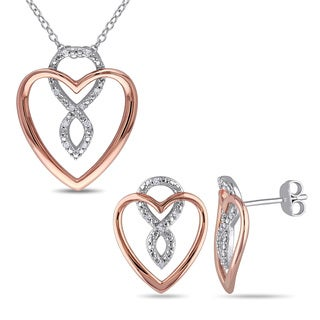 Miadora Two-tone Rose and White Sterling Silver Diamond Accent 2-piece Heart Infinity Necklace and Earrings Set