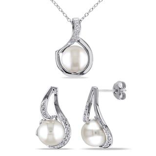 Miadora Sterling Silver Cultured Freshwater White Pearl and 1/10ct TDW Diamond 2-piece Drop Necklace and Earrings Set (9-9.5 mm)