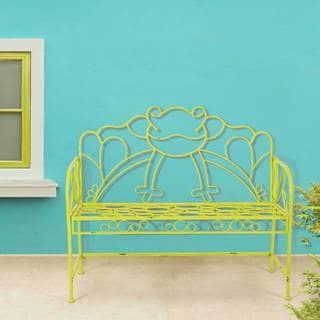Sunjoy Green Frog Green Iron 42.75-inch x 20-inch x 37-inch Bench