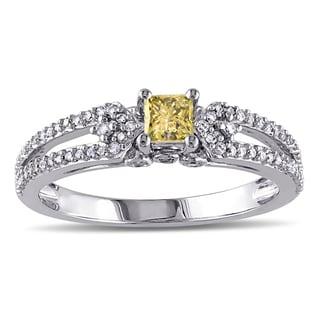Miadora 10k White Gold 1/2ct TDW Princess-cut Yellow and White Diamond Split Shank Engagement Ring (G-H, I2-I3)