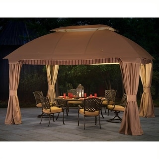 Sunjoy Ridder Beige Fabric and Steel 10-foot x 13-foot Domed Gazebo