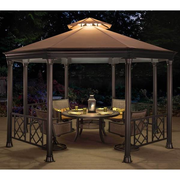 Sunjoy Beige Steel/Fabric Octagonal Soft Top Gazebo
