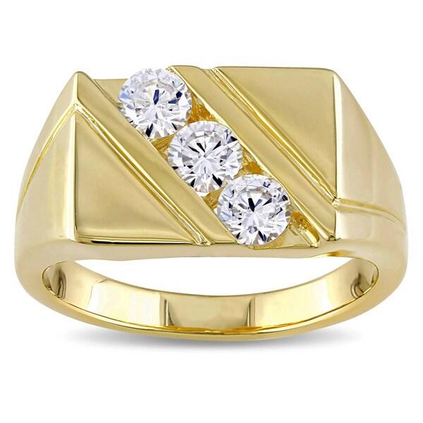 Miadora Yellow Plated Silver Cubic Zirconia Mens Three Stone Ring