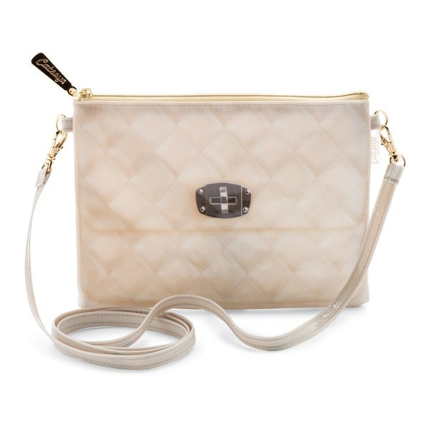 Catseye 1 Count Quilted Cream Crossbody Handbag