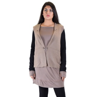 Women's Premise Dress with Attached Boiled-wool Vest and Ribbed Sleeve with Thumb Hole
