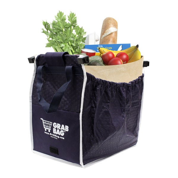 General Supply Grab Bag Blue Plastic Insulated Reusable Shopping Bag