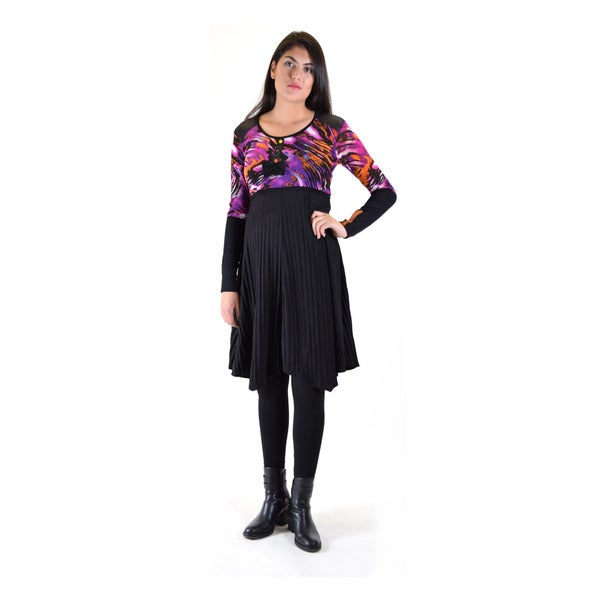 Dinamit Women's Premise Multicolor Polyester/Cotton Printed Mesh Top with Attached Pleated Skirt and Ribbed Sleeves