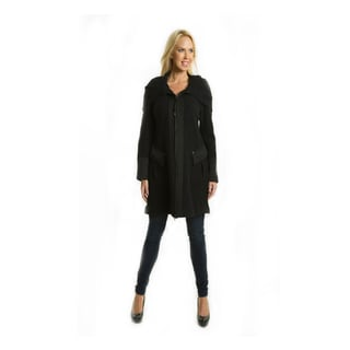 Premise Women's Military-style Long Black Boiled Wool Coat