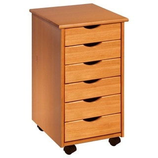 Adeptus Solid Wood 6 Drawer Roll Cart - Small