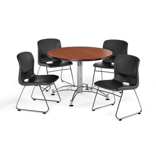 OFM 42-inch Round Multi Purpose Table with 4 Plastic Guest Chairs