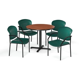 OFM 42-inch Round Table X-Series with 4 Vinyl Guest Chairs